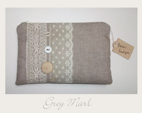 Grey,Marl,Make,up,Purse,organic cotton,make up purse,ethical,eco,shabby chic