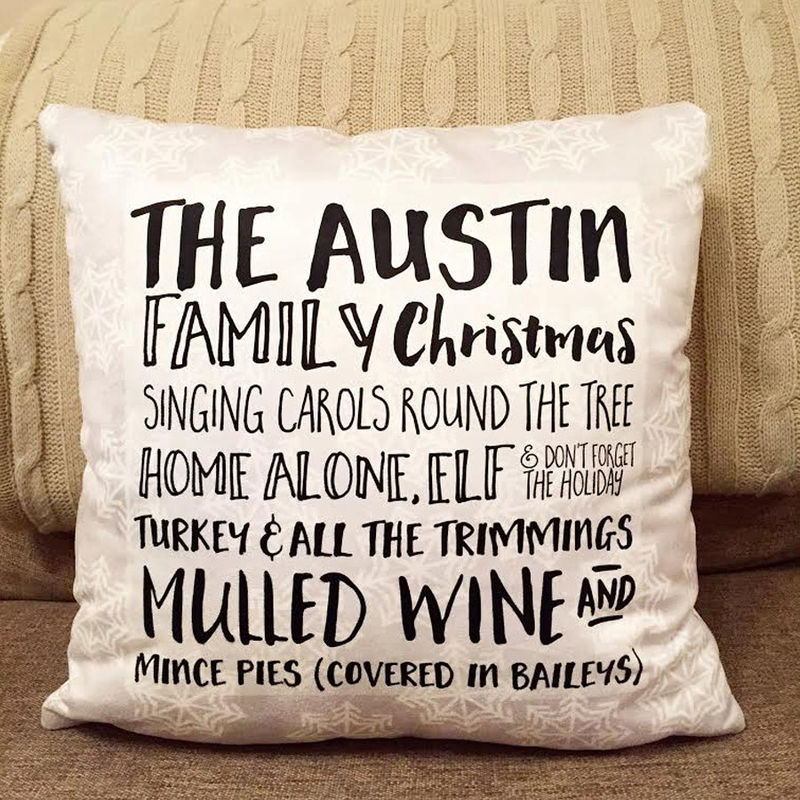 Family Favourites Christmas Cushion - Personalised Cushion - Christmas Cushion - Family Christmas Gift - product images  of