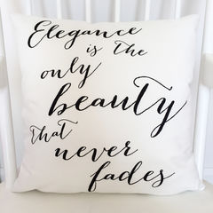 Audrey,Hepburn,Cushion,-,Elegance,Quote,Monochrome,Typography,Interiors,Housewares,Pillow,cushion,cushion_gift,faux_suede_cushion,printed_cushion,gift_for_her,cushion_for_her,audrey_hepburn,audrey_cushion,quote_cushion,elegance,black_and_white,monochrome,gift_for_the_home