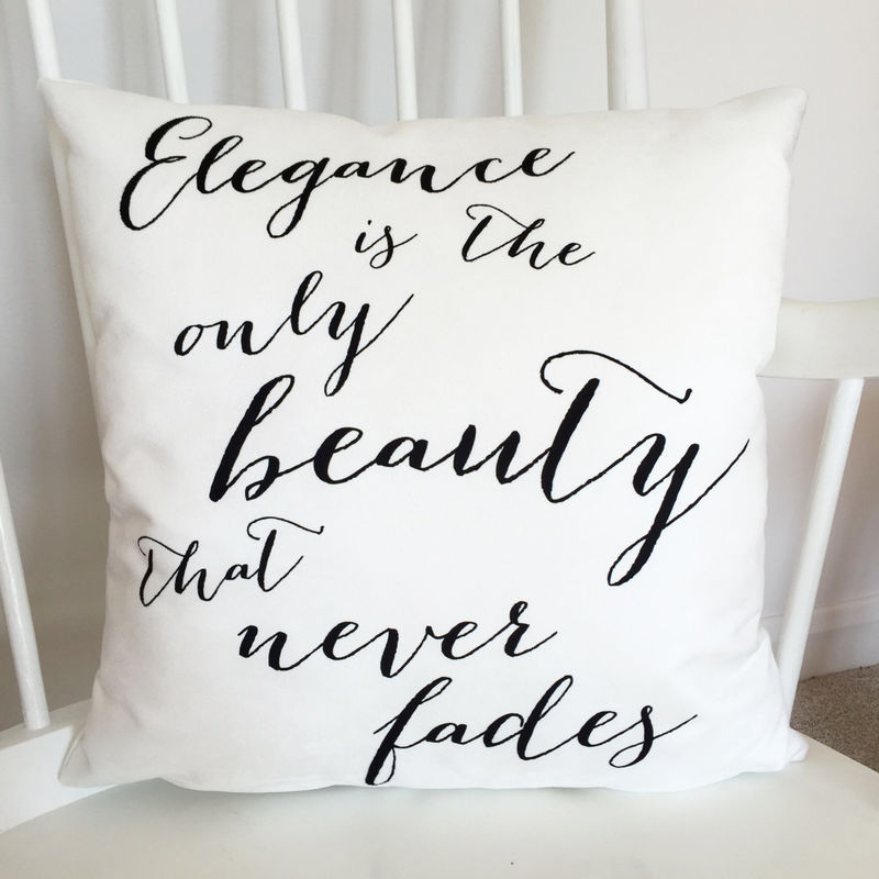 Audrey Hepburn Cushion - Elegance Quote Cushion - Monochrome Cushion - Typography Quote Cushion - Quote Cushion - Interiors - product images  of