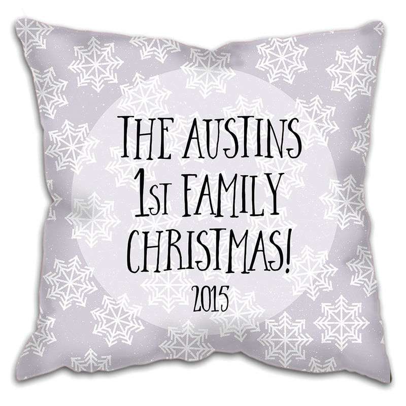 First Family Christmas Cushion - Personalised Cushion - Personalized Cushion - Family Christmas Cushion - New Family Christmas Gift - product images  of