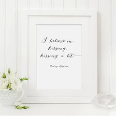 Audrey,Hepburn,Quote,Print,-,I,believe,in,Kissing,Black,and,White,Typography,Art,Printmaking,typography,digital_download,printable,instant_download,typography_print,print_for_the_home,audrey_hepburn_quote,quote_print,quote_download,i_believe_in_kissing,kissing,audrey_hepburn_print,i_believe_quote