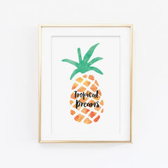 Tropical,Dreams,Pineapple,Print,-,Typography,Summer,Art,Digital,A4_print,typography,stylish_art,wall_art,typography_art,print,10x8_print,pineapple,tropical,watercolour,pineapple_print,summer,tropical_dreams
