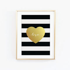 Gold,Love,Heart,Print,-,Effect,Black,and,White,Typography,Art,Printmaking,A4_print,black_and_white,typography,stylish_art,wall_art,typography_art,print,black_print,10x8_print,faux_gold_foil,love_heart,stripes,love_print