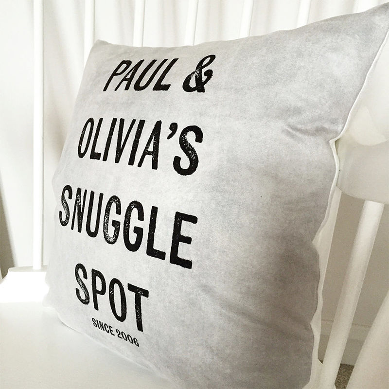 Snuggle Spot Cushion - Couples Cushion - Personalised Cushion - New Home Gift - Gift for Couples - Wedding Gift - Anniversary Gift - product images  of