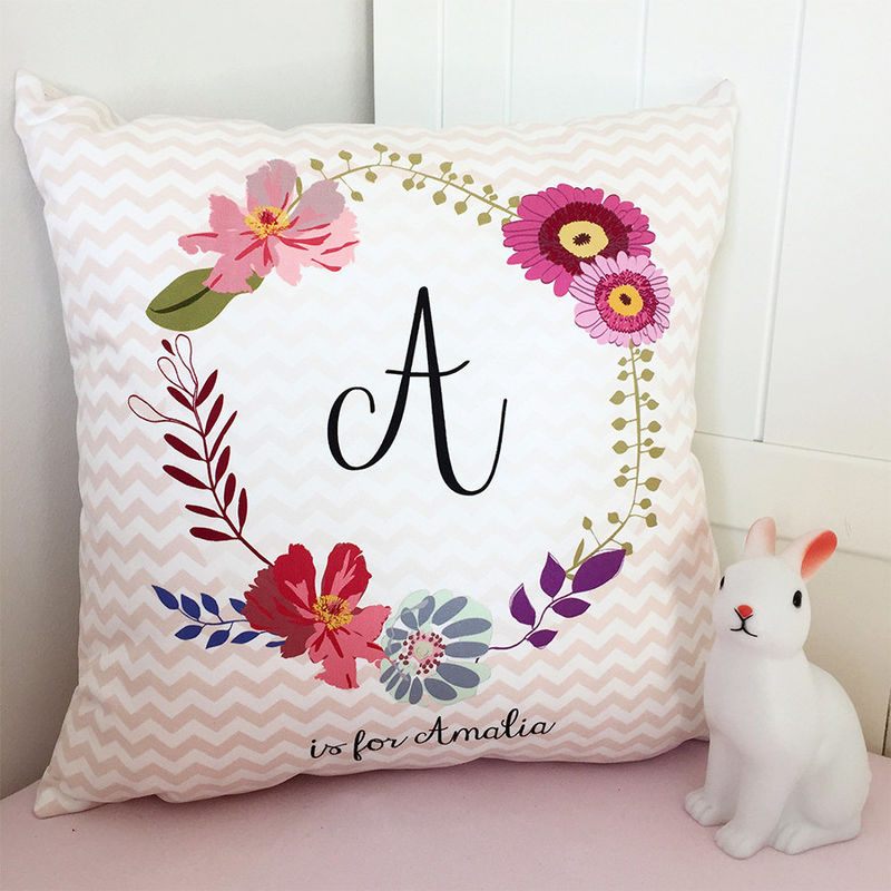 Floral Monogram Cushion - New Baby Gift - New Baby Cushion - Personalised Cushion - Nursery Cushion - Gift for New Parents - product images  of