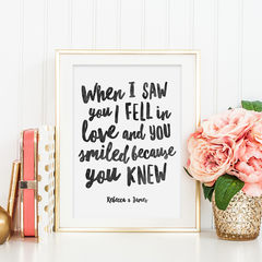Romantic,Quote,Print,-,Personalised,Valentine's,Day,Gift,When,I,Saw,You,romantic print, quote print, typography print, romantic quote print, valentines day gift, personalised print, when i saw you print, fall in love print
