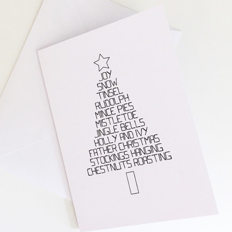 simple christmas tree word card christmas tree card typography