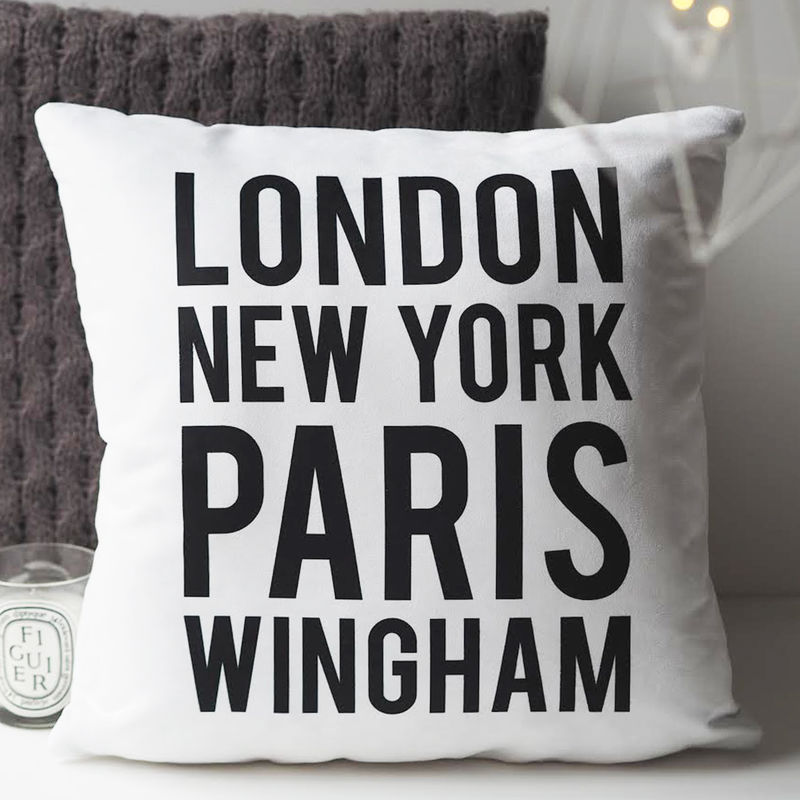 Location Cushion - Personalised Cushion - House Warming Gift - Gift For Couples - Family Gift - product images  of