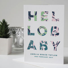 Hello,Baby,Personalised,New,Card,-,Boy,Girl,Botanical,hello baby card, personalised new baby card, new baby card, baby boy card, baby girl card, botanical card