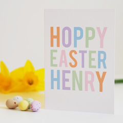 Personalised,Children's,Hoppy,Easter,Card,-,Happy,Paper_Goods,Cards,card,greetings_card,easter card, hoppy easter card, happy easter card, personalised easter card, fun card