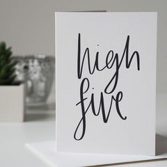 High,Five,Congratulations,Card,-,Well,Done,congratulations card, well done card, new job card, driving test card, congratulations, high five high five card, hand lettering, hand lettered card
