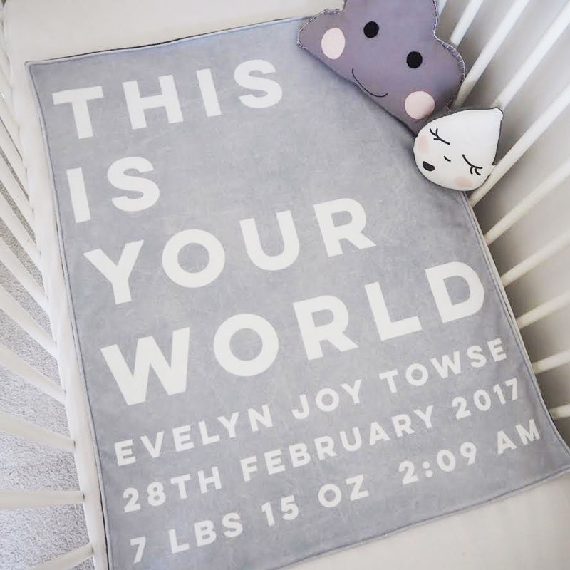 Personalised 'This Is Your World' New Baby Blanket - product images  of