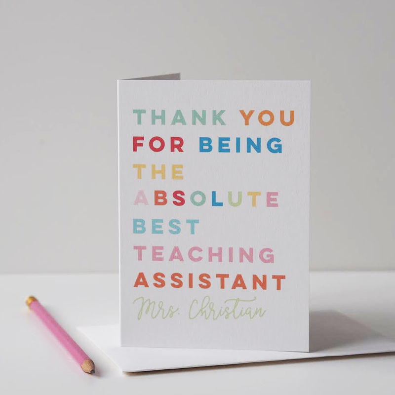 Absolute Best Teacher Card - Teaching Assistant Card - Thank You Teacher Card - Thank You Card - Teacher Card - End of School Card - End of Term Card - Personalised Card - product images  of