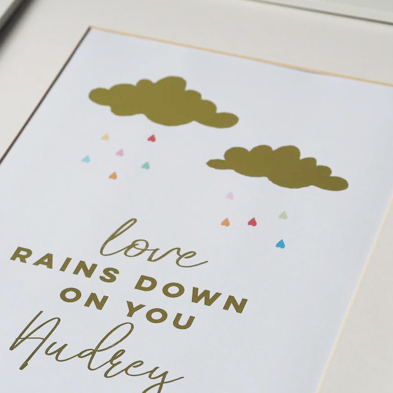 Personalised Love Rains Down On You Gold Foil Print - Real Gold Foil Print - Personalised Gold Foil Print - Nursery Print - Children's Print - product images  of