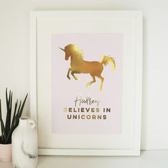 Personalised,Believe,in,Unicorns,You,Gold,Foil,Print,-,Real,Nursery,Unicorn,believe in unicorns, unicorn print, gold foil print, personalised print, personalised gold foil print, personalised unicorn print, unicorns print, nursery print, childrens print