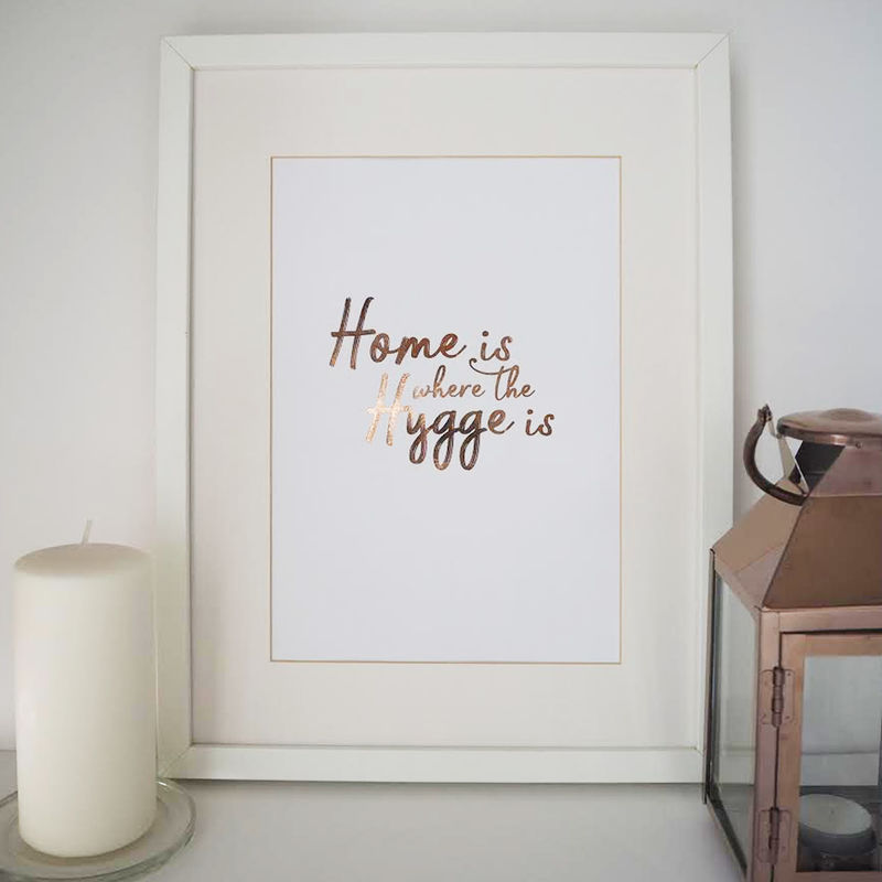 Home is Where the Hygge is Gold Foil Print - Hygge Print - Gold Foil Print - product images  of
