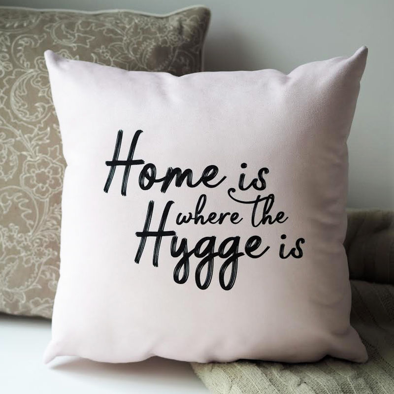 Home is where The Hygge is Cushion - Hygge Cushion - Hygge - Typography Quote Cushion - product images  of
