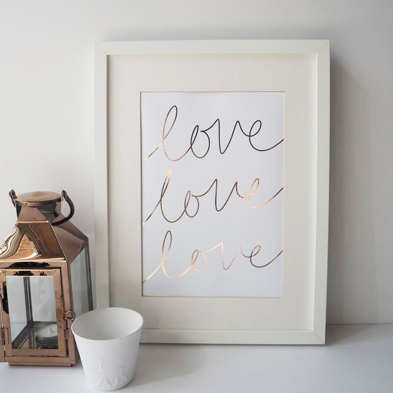 Love Typography Gold Foil Print - Love Print - Gold Foil Print - Hand Lettered Typography Print - product images  of