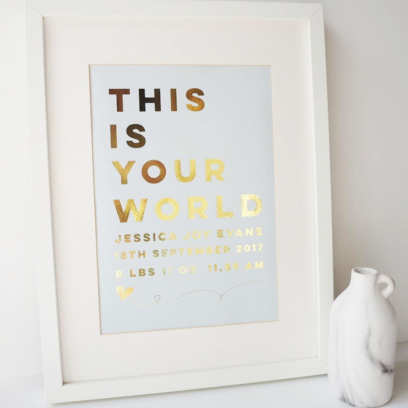 Gold Foil Personalised New Baby Print - This Is Your World Print - New Baby Print - Gold Foil Print - product images  of