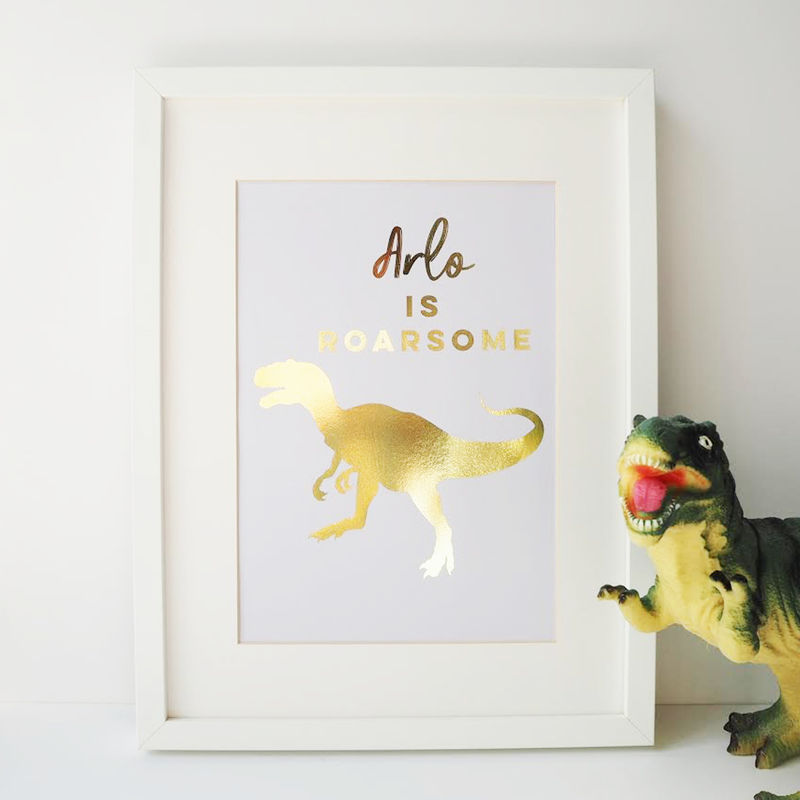 Gold Foil Personalised Dinosaur Print - Dinosaur Print - Gold Foil Print - Personalised Print - product images  of