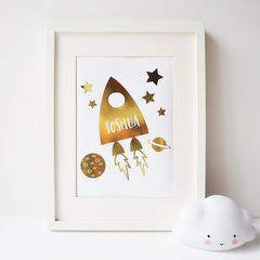 Gold,Foil,Personalised,Rocket,Print,-,Space,children's print, gold foil print, gold foil space print, personalised rocket print, personalised gold foil print, personalised children's print, nursery print, personalised gold foil space print