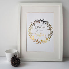 Personalised,Family,Christmas,Wreath,Gold,Foil,Print,-,christmas print, gold foil print, christmas wreath, personalised family christmas print, personalised christmas print, family print, personalised gold foil print, gold foil, foil, gold, family christmas