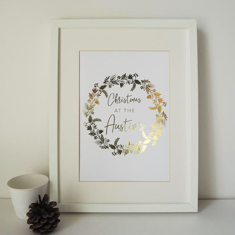 Personalised Family Christmas Wreath Gold Foil Print - Gold Foil Print - Personalised Family Christmas Print  - product images  of