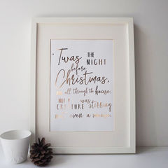 Night,Before,Christmas,Gold,Foil,Print,-,Typography,christmas print, gold foil print, night before christmas, christmas typography print, typography print, gold foil christmas print, typography quote print