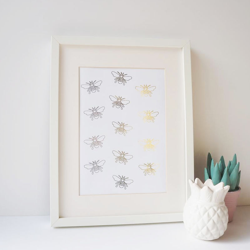 Bee Gold Foil Print - Bee Print - Gold Foil Print - product images  of