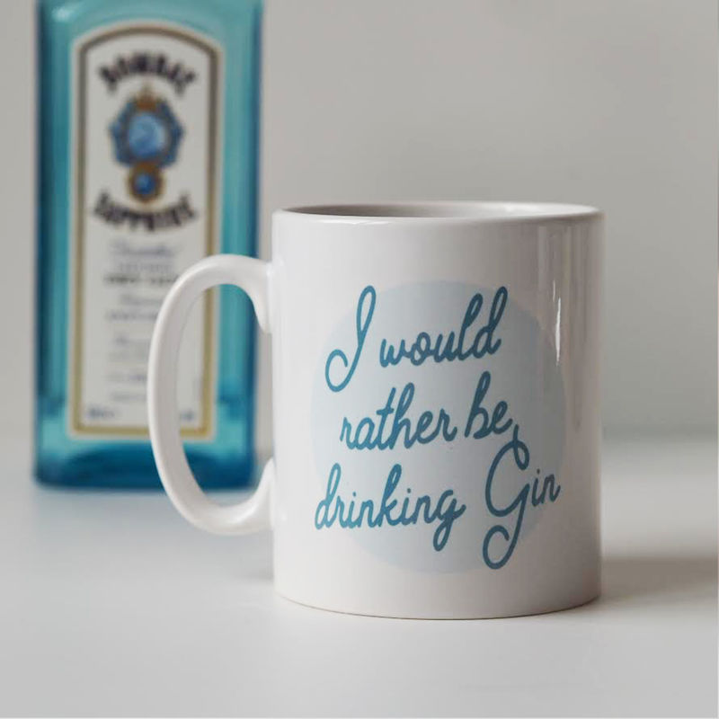 Rather Be Drinking Gin Mug - Gift for Gin Lover - Gin Quote Mug - product images  of