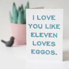 Like,Eleven,Loves,Eggos,Stranger,Things,Valentine's,Card,-,Funny,anniversary card,  valentines card, Paper_Goods,Cards,card,greetings_card,romantic_card,valentines_day_card,valentines_card, funny valentines day card, stranger things card, eleven, 11, eggos, stranger things