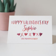 Personalised,Valentines,Day,Card,for,Children,-,Kids,Happy,valentines day card, valentines card, valentines card for kids, childrens valentines card, personalised childrens valentines card, valentines card from mummy and daddy