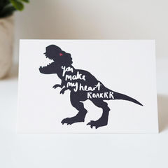 Make,My,Heart,Roar,Dinosaur,Valentines,Card,-,Day,valentines day card, valentines card, funny valentines card, anniversary card, love card, dinosaur, T-Rex, roar, you make my heart roar, dinosaur card, hand lettered, hand lettering, illustration