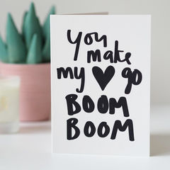 Make,My,Heart,Go,Boom,Valentines,Card,-,Day,Hand,Lettered,valentines day card, valentines card, funny valentines card, anniversary card, love card, heart go boom boom, hand lettered, hand lettering, illustration
