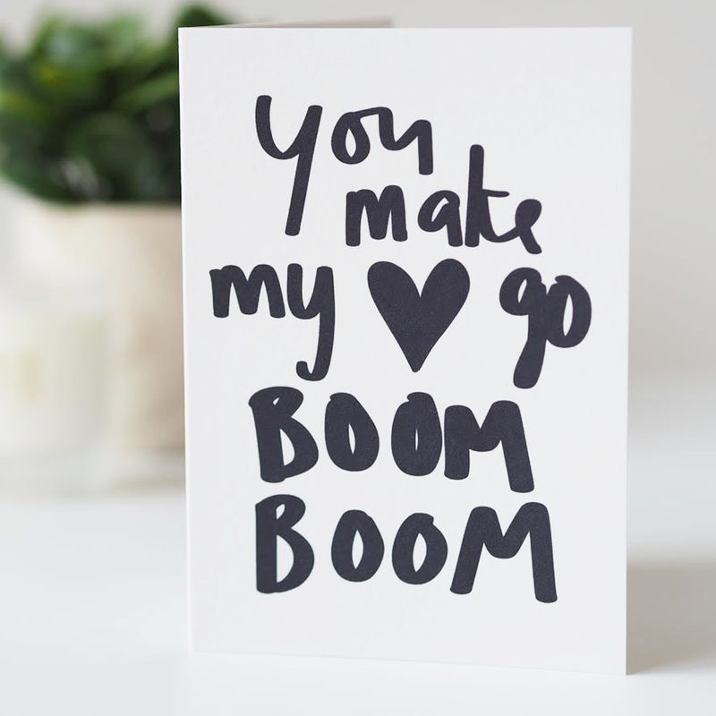 Make My Heart Go Boom Valentines Card - Valentines Day Card - Hand Lettered Valentines Card - product images  of