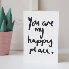Happy,Place,Valentines,Card,-,Day,Hand,Lettered,valentines day card, valentines card, funny valentines card, anniversary card, love card, happy place, you are my happy place, hand lettered, hand lettering