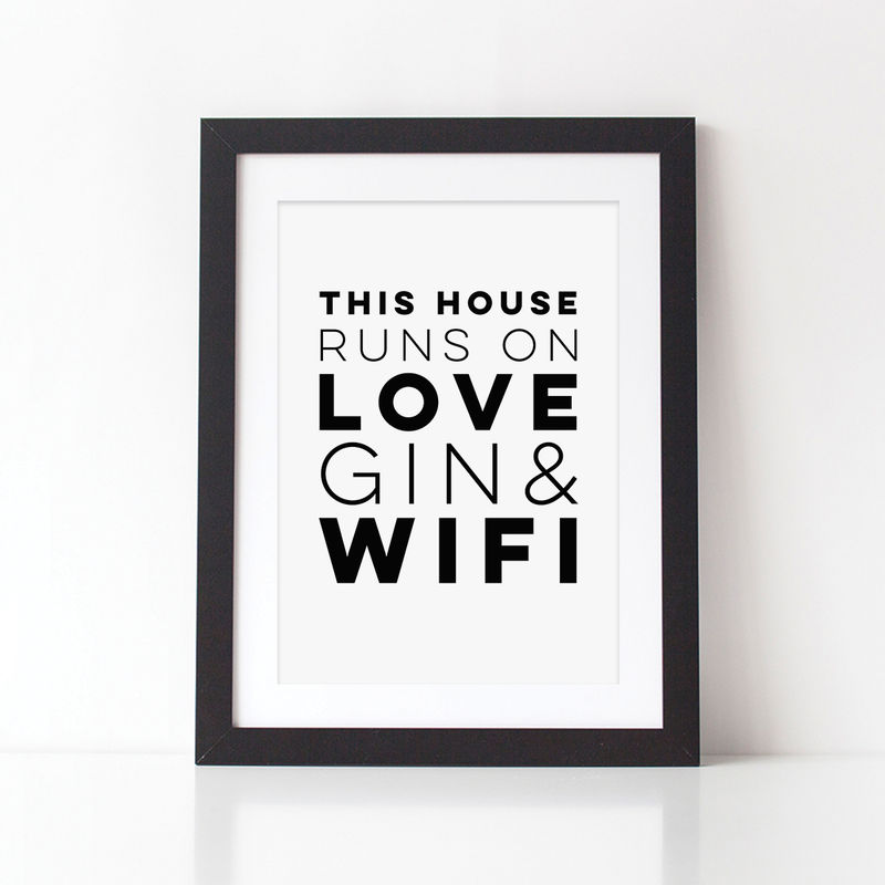 Love, Gin & Wifi Typography Print - Typography Print for the Home - product images  of