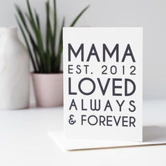 Mama,Est,Personalised,Mother's,Day,Card,-,For,Mum,Paper_Goods,Cards,card,greetings_card,mothers_day_card,mothers_day,mummy,mum,mommy,mom,pink,card_for_mum, mama, mama best, personalised card for mum, personalised mothers day card