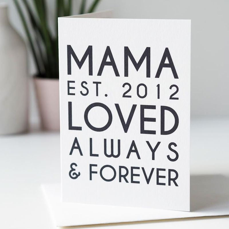 Mama Est Personalised Mother's Day Card - Card For Mum - Personalised Mother's Day Card - product images  of