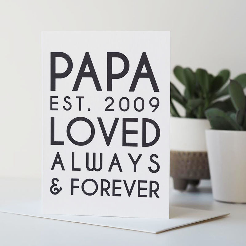 Personalised PAPA Father's Day Card - Father's Day Card - PAPA Est. Card - product images  of
