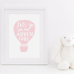 Let's,Go,On,An,Adventure,Hand,Lettered,Typography,Quote,Print,lets go on an adventure, adventure print, typography print, quote print, hand lettered print, hot air balloon, hand lettering, typography, children's print, kids print, nursery print