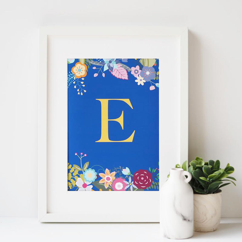 Floral Initial Personalised Print - Monogram Print - product images  of