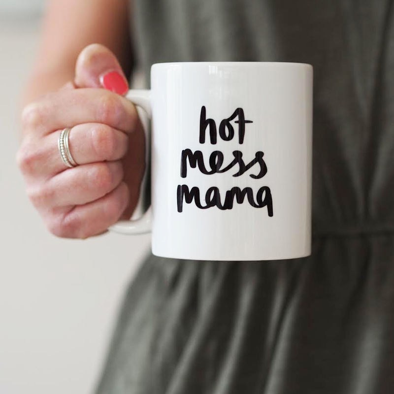 Hot Mess Mama Mug Gift For Mum - Hand Lettered Mug - Mug For Mum - Hot Mess Mama - product images  of