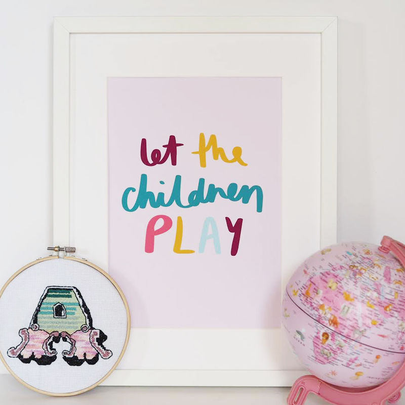 Let The Children Play Hand Lettered Kids Print - Hand Lettered Print - Nursery Print - Children's Print - product images  of