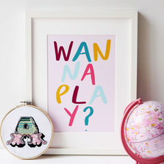 Wanna,Play?,Hand,Lettered,Kids,Print,-,Nursery,Children's,wanna play, play, quote print, typography print, hand lettered print, hand lettering, kids print, nursery print, print for children, children's print, happy print, colourful print, happy