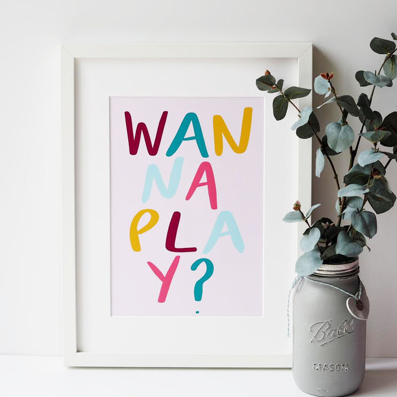Wanna Play? Hand Lettered Kids Print - Hand Lettered Print - Nursery Print - Children's Print - product images  of