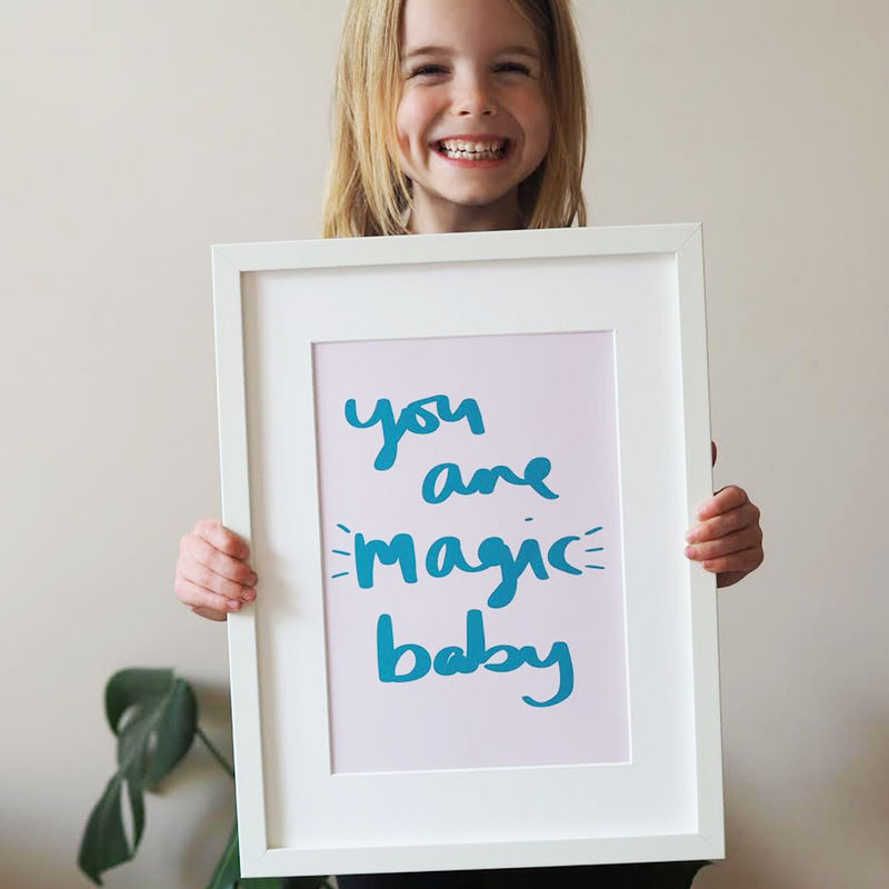 You Are Magic Baby Hand Lettered Kids Print - Hand Lettered Print - Nursery Print - Children's Print - product images  of