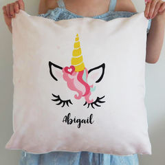Personalised,Unicorn,Cushion,-,Girls,Housewares,Pillow,cushion, unicorn, unicorn cushion, personalised cushion, unicorn gift, girls cushion, nursery cushion, children's cushion, kids cushion