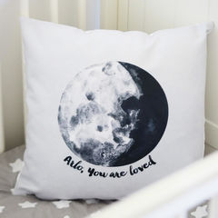 You,Are,Loved,Moon,Cushion,-,Personalised,Kids,Housewares,Pillow,cushion, moon, moon cushion, you are loved, you are loved cushion, personalised cushion, kids cushion, kids interior, nursery, children's cushion, nursery cushion